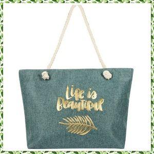 🆕Life Is Beautiful Gold Printed Large Tote Bag